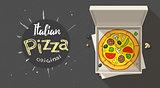 Box with italian pizza