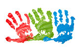 Three child's handprints
