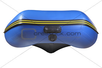 Bow  inflatable, rubber blue boat with keel,  isolated on white.