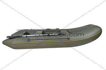 Green, rubber, inflatable rowing boat, isolated on white backgro