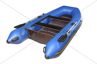 Blue inflatable boat with oars, plywood deck and seats.