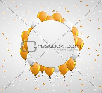 circle badge and orange balloons