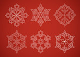 Snowflake set on red background