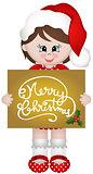 Christmas girl holding a Merry Christmas