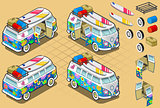 Hippie Van 01 Vehicle Isometric