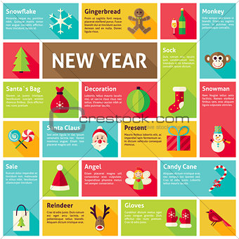 Flat Design Vector Icons Infographic Happy New Year Concept
