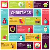 Flat Design Vector Icons Infographic Merry Christmas Concept