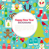 Flat Happy New Year Vector Pattern Background