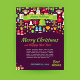Merry Christmas Holiday Vector Template Banner Flyer Modern Flat