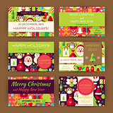 Merry Christmas Vector Invitation Template Flat Set