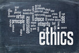 ethics word cloud on blackboard