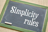 simplicity rules  blackboard sign