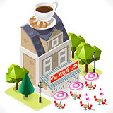 Cafe Tint Icon Building Isometric