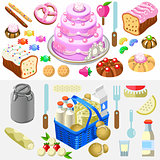 Candy Dairy Set Food Isometric