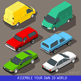 Cars Van Set Vehicle Isometric
