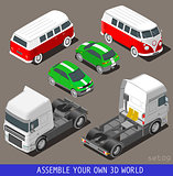 Car Truck Flat Vehicle Isometric