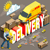 Express Delivery Vehicle Isometric