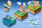 Fish Chain Infographic Isometric
