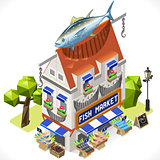 Fishmonger Shop Building Isometric