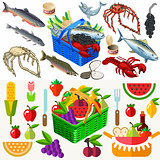 Fish Vegetables Set Food Isometric