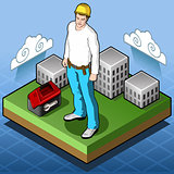 Hard Hat Builder People Isometric