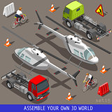 Helicopter Flat Vehicle Isometric