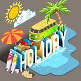 Holiday Postcard Concept Isometric