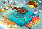 Lobster Fish Infographic Isometric