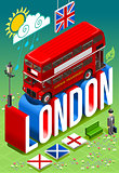 London Bus Postcard Isometric