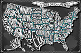 Map USA Vintage Blackboard 2D