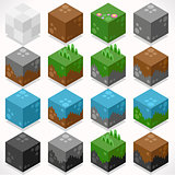 Mine Cubes Elements Isometric
