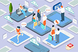 People Network Concept Isometric