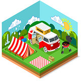 Picnic Van Set Vehicle Isometric