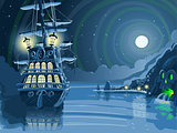 Pirate Galleon Landscape Fantasy