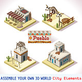 Pueblo Tiles 01 Set Isometric