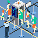 Queue Checkpoint Concept Isometric