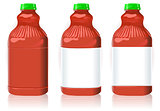 Red Plastic Bottles Object 2D