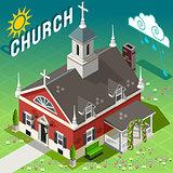 Rural Church Building Isometric