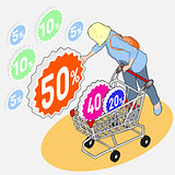 Shopping 02 People Isometric
