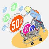 Shopping 02 People Isometric