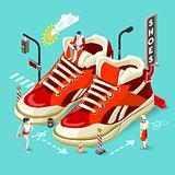 Sneakers Shop People Isometric