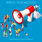 Social Promotion Concept Isometric