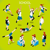 Students Set 01 People Isometric