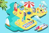 Summer Beach Concept Isometric