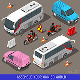Tourism Flat Set Vehicle Isometric