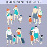 Tourist Flat 01 People Isometric