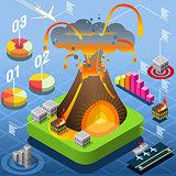 Volcano Disasters Isometric