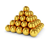 Golden sphere pyramid isolated