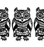 Simple Hand drawn Owl Sketch black blue pattern