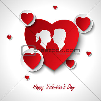Valentine card with hearts and lovers template